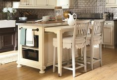 Breakfast Bar Ideas For Kitchen With Extended Zinc Countertops Table Island Two Barstools With Fabric Cushion And Dish Towel For Kitchen Isl...