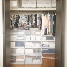 htさんの、ベッド周り,無印良品,クローゼット,収納,セリア,賃貸,クローゼット収納,子供服収納,PPケース,Plenty Box,のお部屋写真