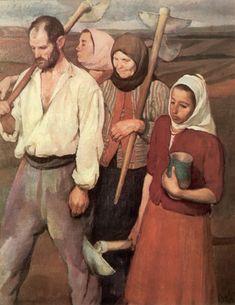 Return from Grubbing - Corneliu Baba (Rumania) Francisco Goya, Post Impressionism, Art Database, Portraits, Beautiful Paintings, Figurative Art, Traditional Art, Sculpture Art, Painting & Drawing