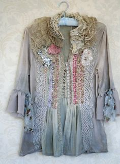 mood Baroque, artful blouse with antique laces and hand beading-featured in Altered Couture Winter issue
