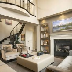 Great Room - contemporary - family room - toronto - David Nosella Interior Design - like the staircase railing similar to mahogany one at house we liked House Design, Home Living Room, House, Home, House Styles, New Homes, Contemporary Family Rooms, Home And Living, Great Rooms