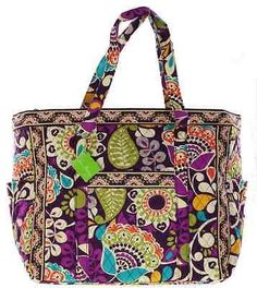 299eb82656 Vera Bradley Get Carried Away Tote in Plum Crazy NEW