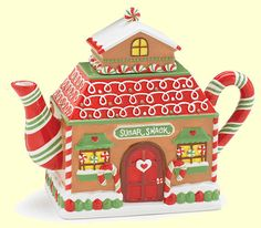 'Sugar Shack' Christmas teapot in shape of gingerbread house with candy cane handle and spout, ceramic