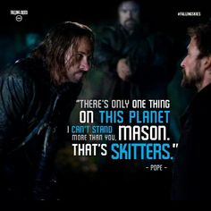 """Colin Cunningham as Pope and Noah Wyle as  Tom Mason from the TV Show """"Falling Skies""""."""