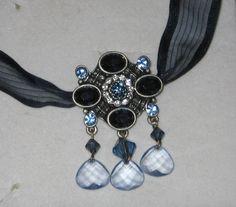 Elegant Silver Blue Sapphire Topaz Lucite Briolette Pendant Ribbon Necklace