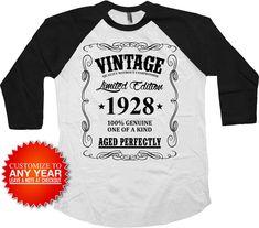 90th Birthday T Shirt Personalized Gift Ideas Custom Year Bday TShirt B Day Outfit Vintage 1928 Birthday Aged Perfectly Raglan Tee - BG366 by BirthdayGoodiesShop on Etsy https://www.etsy.com/listing/507115452/90th-birthday-t-shirt-personalized-gift #tshirtideas