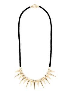 "Noir Jewelry gold-spike necklace - 25"" long, 1.25"" at widest point, and toggle closure. Black cotton necklace w/ 18K yellow-gold plated brass spike details and clear cubic zirconia accents. #GiftMe"