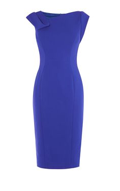 Blue pencil dress featuring an asymmetrical neckline with fold-detail, decorative seams and above the knee cut. Crafted from Italian-made material. Color Blocking Outfits, African Print Dresses, Work Looks, Karen Millen, Dresses For Work, Dress Work, Office Dresses, Classy Dress, Work Attire