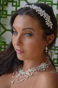 Dramatic Pearl and Rhinestone Bridal Jewelry and Matching Headband - Affordable Elegance Bridal -