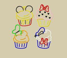 Cute disney cupcake applique designs.