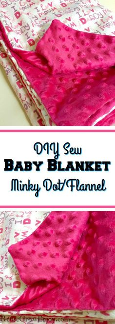 DIY Baby Blanket - Minky Dot With Flannel - Reuse Grow Enjoy Have a little one that could use a cozy new blanket? Or maybe you need a baby gift for someone? I will show you how to sew this DIY baby blanket made with Minky dot and flannel fabric. How To Sew Baby Blanket, Easy Baby Blanket, Minky Baby Blanket, Easy Diy Baby Blankets, Homemade Blankets, Weighted Blanket, Baby Flannel, Flannel Baby Blankets, Receiving Blankets