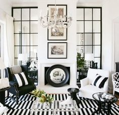 Black & White, love the mirror/faux windows, from One Kings Lane