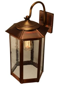 Baja Mission Style Outdoor Wall Light with Bracket Copper Lantern by Lanternland. The Baja Mission style outdoor collection: Authentic handmade copper and brass lanterns made in the USA base Outdoor Wall Lighting, Outdoor Walls, Copper Lantern, Copper Glass, How To Make Lanterns, Craftsman Bungalows, Cabins And Cottages, Custom Lighting, My New Room