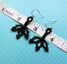 Embellished Black Cloverleaf Earrings. $10.00, via Etsy.
