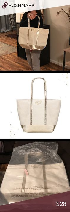 VIctoria Secret 2017 Ivory Shimmer BLING Tote 👛 New 2017 VS Shimmer Sequin Bling Sparkle Canvas Tote. Very Spacious Tote. Victoria Secret Bags Totes
