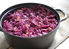 Braised red cabbage with bacon. This red cabbage recipe with bacon is a German and Austrian sweet-and-sour staple served with pork chops, spätzle, or sausage. Red Cabbage Recipes, Cabbage And Bacon, Cabbage Rolls, Cabbage Soup, Vegetable Sides, Vegetable Recipes, Veggie Dishes, Veggie Side, Bacon Recipes