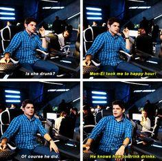 """Mon-El took me to happy hour! He knows how to drink drinks"" - Kara and Winn #Supergirl"