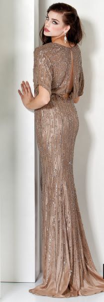 Old Hollywood -sequins in champagne full length gown