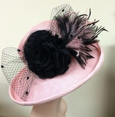 Elegant Black and Pink Kentucky Derby Hat with by WhatAGreatHat