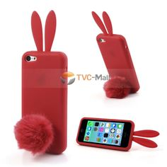 Red Rabbit Silicone Back Case for iPhone 5c w/ Velvet Tail Stand