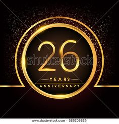 twenty six years birthday celebration logotype. 26th anniversary logo with confetti and golden ring isolated on black background, vector design for greeting card and invitation card.