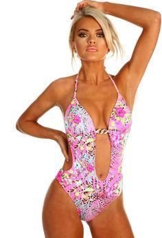 d19c99c4da12f Danika Pink Floral Cut Out Plunge Swimsuit
