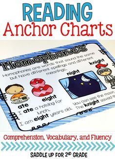 Anchor chart posters are great visuals to use in your classroom to show what skills you are currently focusing on. This is a set of 45 colored and black and white posters that cover comprehension, vocabulary and fluency skills. You may print them to display in your classroom or use on a focus wall.