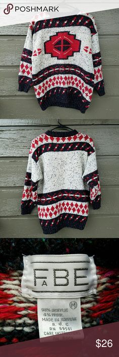 Vintage FABE Ethnic Oversized Sweater Short, modern 3/4 sleeves. Excellent condition  Feel free to ask me any additional questions. Reasonable offers are considered. No trades, or modeling. Happy Poshing! Vintage Sweaters