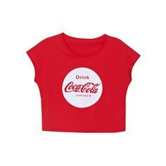 """CocaCola"" Print Red T-shirt (345 MXN) ❤ liked on Polyvore featuring tops, t-shirts, shirts, red tee, red t shirt, red shirt, tee-shirt and shirt top"