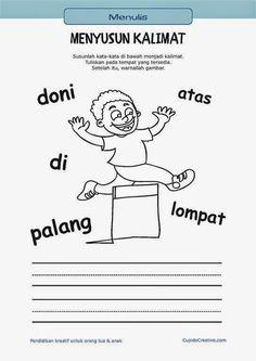 belajar membaca & menulis anak TK/SD, menyusun kata menjadi kalimat & mewarnai gambar orang melompat: