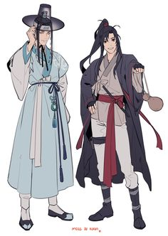 ** Permission to post it was granted by the artist Do not repost/edit the art without permission Please, support the artist on their pages too ** MDZS in Korea Artist : Source Korean Traditional Dress, Traditional Outfits, Korean Art, Asian Art, Character Concept, Character Art, Drawing Clothes, Korean Outfits, Fantasy Characters