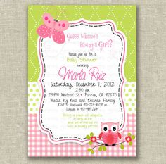 Sweet Owl and Butterfly Baby Shower Invitation Template Pastel Pink White and Green Color.
