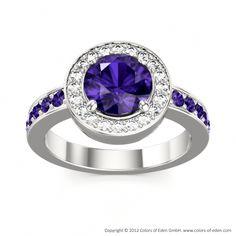 "Tanzanite Engagement Ring in White Gold - ""Ecstasy"""