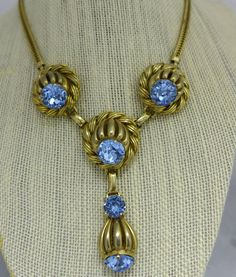 """VINTAGE """"Joseff of Hollywood"""" Style NECKLACE Cut Prong Set Blue Stones #Unbranded #Princess"""