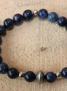 MensHaves Mannenarmband Silver Blue Sodalite