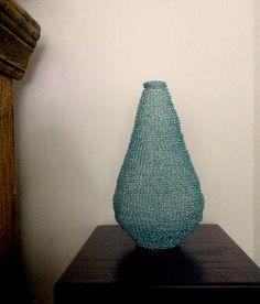"""Aqua""; crocheted wire vessel; Sharon Stafford Metals"