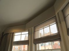 simple sheer roman blinds, pelmet and curtains, for a clean comtemporary look. New Homes, Window Treatments, Inspiration, House, Curtains, Interior, Drawing Room, Sheer Roman Blinds, Room