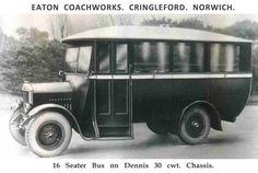 Dennis 30 cwt by Eaton Coachworks James Bond Movie Posters, James Bond Movies, Bus Coach, London Transport, Busses, Coaches, Norfolk, Family History, Motor