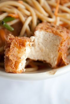 CRISPY SPICY SEASONED BATTERED DEEP-FRIED TOFU ~~~ flour, cornstarch, baking soda, seltzer, garlic, onion, cayenne, salt [andiemitchell]