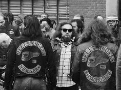 Members of the Hell's Angels motorcycle gang gather on the Lower East Side during a funeral for a slain comrade in Biker Clubs, Motorcycle Clubs, Outlaws Motorcycle Club, American Motorcycles, Hells Angels, Badass, Harley Davidson, New York, Bikers
