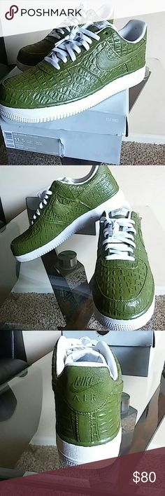 Custom Nike Air Force 1 Custom Nike Air Force 1 Color:green/gold/white Size:11.5 Brand new custom nike AF1 by @LuxuriousAmbition Nike Shoes Sneakers