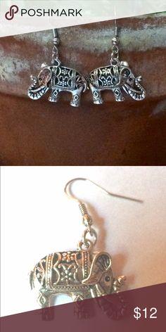 Elephant Earrings Intricately designed. Silverplated elephant earrings for pierced ears. Please ask if you have questions. Jewelry Earrings