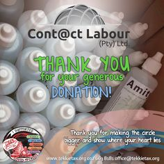 A big thank you to Jaco Lessing from Contact Labour for your generous donation of hand sanitizers! We donated it to one of the participating Tekkie Tax NGOs rendering essential services. Thank you for making the circle bigger and showing where your heart lies.  #tekkietax #makethecirclebigger #takehands #lovingtekkies #jamblikprojek #TekkieCovid19