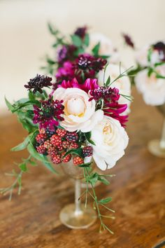 Raspberry, Rose and Scabiosa Centerpieces
