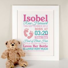 Personalised Baby Girl Print | Bespoke Gifts and Presents by GettingPersonal.co.uk