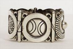 Hector Aguilar Silver Aztec Symbols Cuff Bracelet