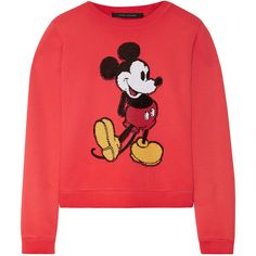 Marc Jacobs Sequin-embellished cotton-jersey sweatshirt ($575) ❤ liked on Polyvore featuring tops, hoodies, sweatshirts, sweaters, shirts, sweatshirt, my clothes, embellished top, red mickey mouse sweatshirt and mickey mouse sweatshirt