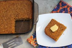 GF and vegan pumpkin cornbread. Sub regular buttermilk for the almond milk/vinegar combo for extra moisture!
