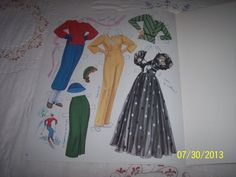 Claudette Colbert paper doll clothes by M. Henry / eBay