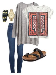 Comfy school day by alexdavis02 on Polyvore featuring polyvore, moda, style, J.Crew, Paige Denim, Birkenstock, Tory Burch and Michael Kors